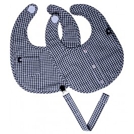 Black & White Gingham Bib Set w/Pacifier Clip