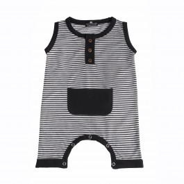 Fashion Knit Romper-BLACK&WHITE
