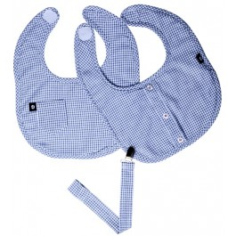 Blue Checker Bib Set w/Pacifier Clip