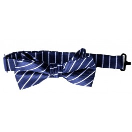 Navy Blue with White Stripes Boys Bow Tie