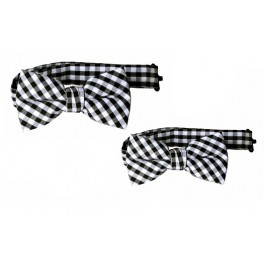 Father Son Black & White Gingham Bowtie Set