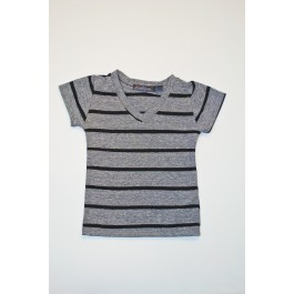 Boys V Neck Grey with Black Stripes T