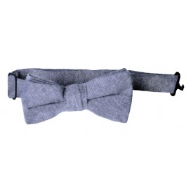 Grey Linen Boys bow tie