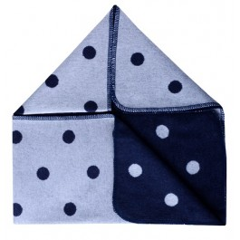 Grey & Navy Pok A Dot Baby Blanket