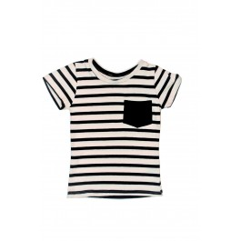 Boys Ivory Crew with Black Pocket and Stripes