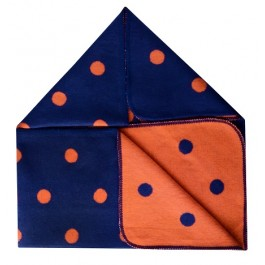 Navy & Orange Pok A Dot Baby Blanket