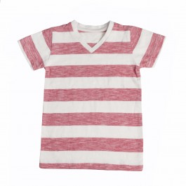 Boys V Neck Red & White Striped T