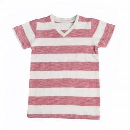 Boys V Neck Red & White Striped T