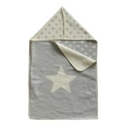 Grey Swadling Stars Baby Blanket
