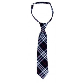 Tartan Black White & Red Boys Tie
