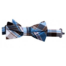 Teal Blue Plaid Bow-Tie