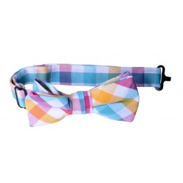 Orange Teal Checker Boys Bow Tie