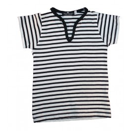 Black & White Stripe Boys V Neck Shirt
