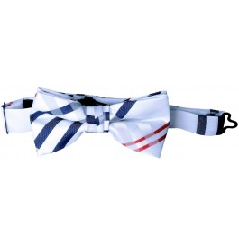 White Plaid Boys Bow Tie