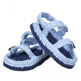 Woven Blue Two Strap Sandals