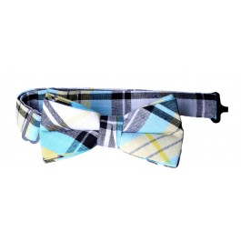 Yellow Blue Plaid Boys Bow-tie